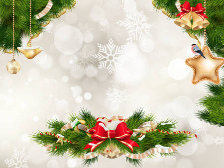 fir tree: Christmas Fir Tree Border over Vintage background. EPS 10 vector file included