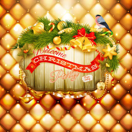 merry mood: Christmas decoration on gold background. Illustration