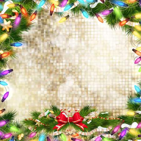 Background with Christmas bells, bow and tinsel. EPS 10 vector file included