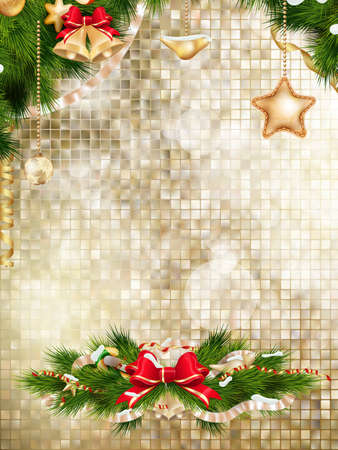 glitzy: Christmas decoration on gold mosaic background. EPS 10 vector file included