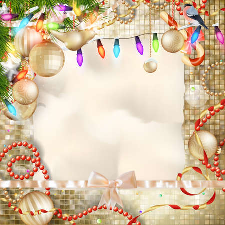 text space: Christmas decoration. vintage background with space for text or image. EPS 10 vector file included Illustration