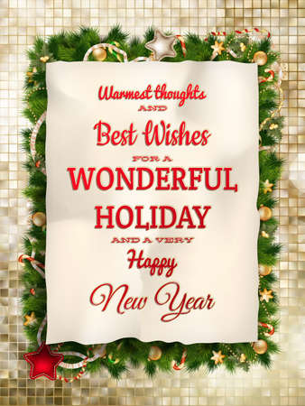 happy christmas: Christmas greeting card light and snowflakes background. Merry Christmas holidays wish design and vintage ornament decoration. Happy new year message. EPS 10 vector file included Illustration