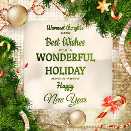 new year: Światło Boże Narodzenie kartkę z życzeniami i płatki śniegu. Święta Wesołych Świąt życzę rocznika ornament projektowania i dekoracji. Szczęśliwa wiadomość nowy rok. Plik EPS 10 wektor zawiera