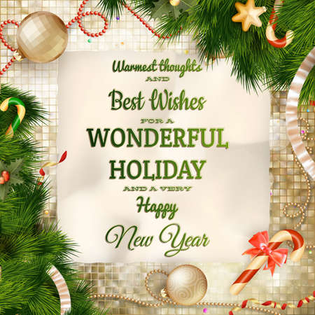 Christmas greeting card light and snowflakes background. Merry Christmas holidays wish design and vintage ornament decoration. Happy new year message. EPS 10 vector file included 일러스트