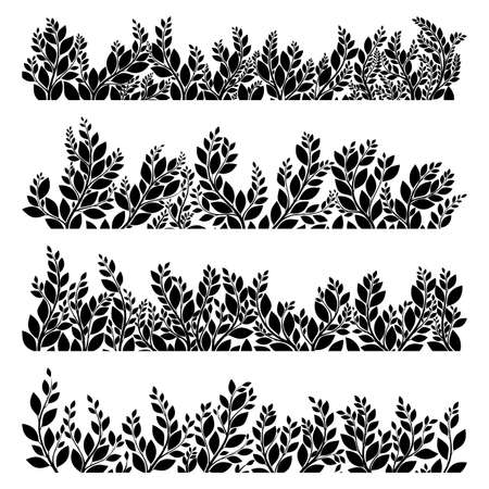 lush: Horizontal grass templates. Black silhouettes on white background. Easy to modify. EPS 10 vector file included