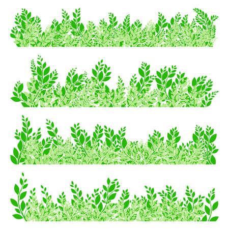 botany: Green leaves border on white background. EPS 10 vector file included Illustration