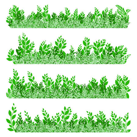 greenness: Green leaves border isolated on white background. EPS 10 vector file included
