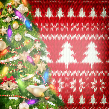 coziness: Wool fabric with Christmas decoration. EPS 10 vector file included Illustration