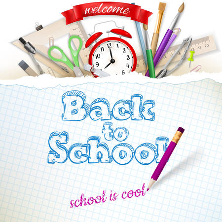 back to school supplies: Welcome back to school. EPS 10 vector file included
