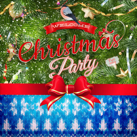 coziness: Wool fabric with Christmas decoration. EPS 10 vector file included Stock Photo