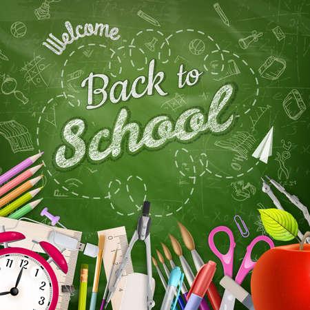 convivencia escolar: Volver a la escuela de fondo. Archivo EPS 10 vector incluido Vectores