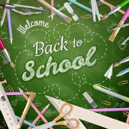 back to school supplies: Back to school background. EPS 10 vector file included
