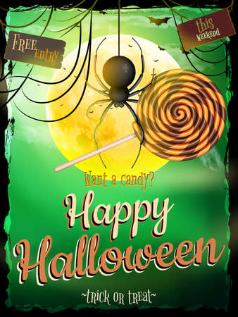spidery: Halloween poster for horror holiday design. EPS 10 vector file included