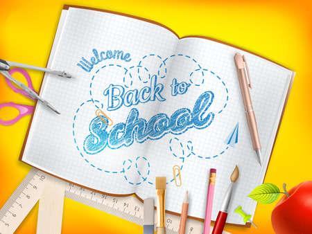 papel de notas: Volver a la escuela de fondo. Archivo EPS 10 vector incluido Vectores