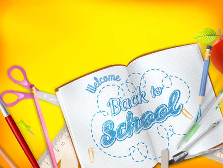 article marketing: Back to School marketing background for greeting card, ad, promotion, poster, flier, blog, article, social media, marketing. EPS 10 vector file included