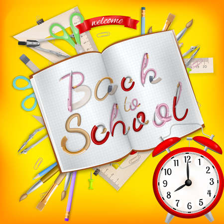 postcard back: Back to School postcard. Office supplies with notebook. EPS 10 vector file included