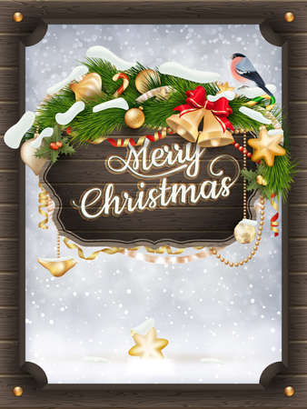 wooden board: Merry Christmas wooden board. EPS 10 vector file included
