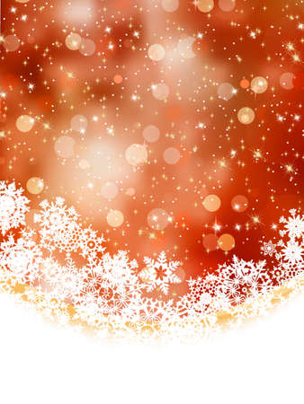 Abstract orange vector winter background with snowflakes. EPS 8 vector file included