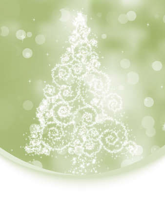Christmas tree illustration on elegant bokeh background. EPS 8 vector file included