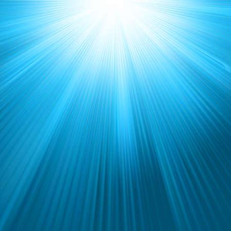 Raggi di Sun sul modello di cielo blu. EPS 8 file vettoriale incluso