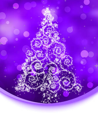 star ornament: Christmas tree illustration on violet bokeh background. EPS 8 vector file included