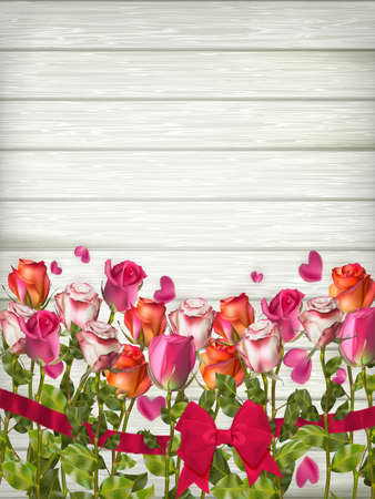 red rose bouquet: Red roses on wooden background. Valentines day background. EPS 10 vector file included