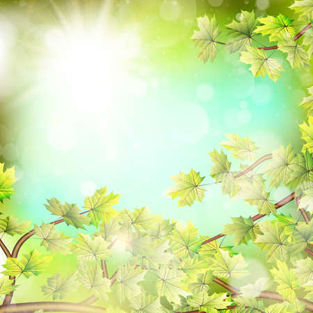 lush: Season branches with fresh green leaves. EPS 10 vector file included