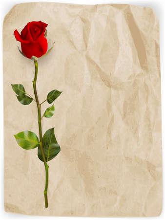 Happy Valentines Day Hintergrund. Einzelne rote Rose auf einem alten Papierhintergrund. EPS 10 Vektor-Datei enthalten Standard-Bild - 52420939