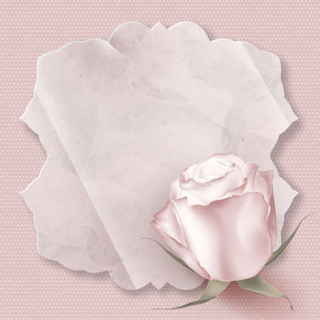 photoalbum: Retro greeting card with pink rose. EPS 10 vector file included Illustration