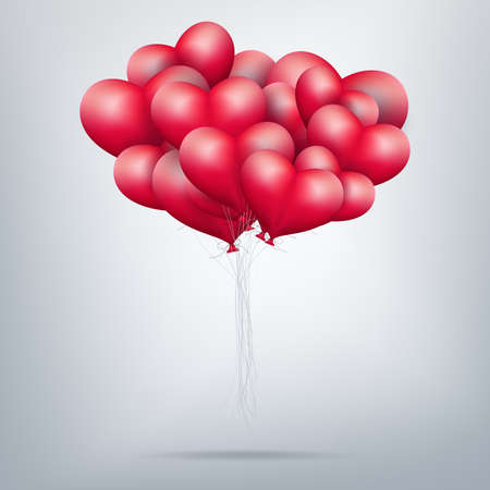 red balloon: Holiday illustration of flying bunch of red balloon hearts. Happy Valentines Day.  vector file included