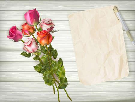 Rozen op houten achtergrond. Kan worden gebruikt als een wenskaart voor Valentijnsdag, verjaardag, Moederdag enzovoort. EPS-10 vectorbestand opgenomen