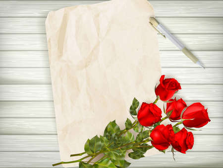 red rose: Happy Valentines day. Beautiful red rose and gift bow on wooden background. EPS 10 vector file included Illustration
