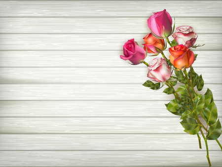 veneer: Roses on a wooden background. EPS 10 vector file included Illustration
