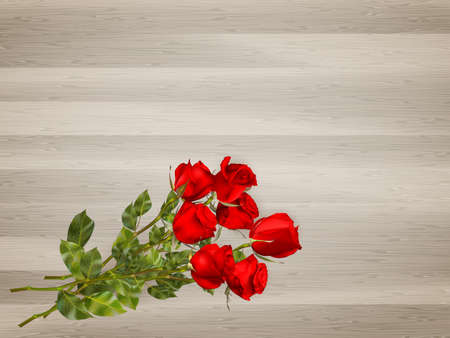 red rose: Roses on a wooden background. EPS 10 vector file included Illustration