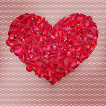 rosebud: Background with heart and red and roses petals. EPS 10 vector file included Illustration
