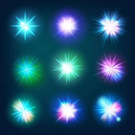 fiestas discoteca: Creative concept set of glow light effect stars bursts with sparkles. For illustration template art design. vector file included