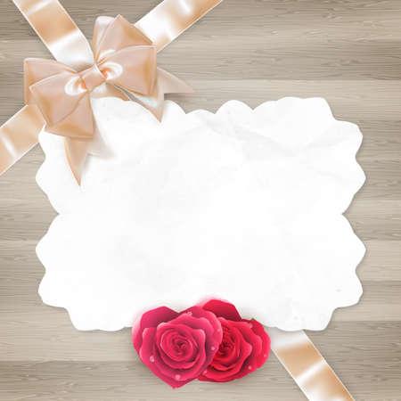 anniversario matrimonio: Telaio d'epoca con le rose. Invito, modello di biglietto. File EPS 10 vettore incluso