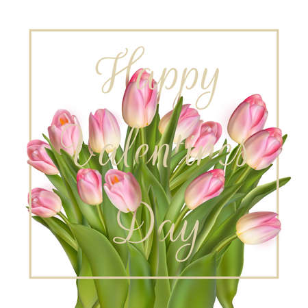 love message: Bunch of pink tulips. EPS 10 vector file included