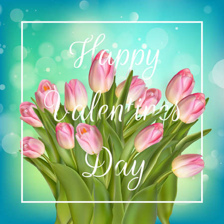natural background: Valentines day greeting card with tulips flowers. EPS 10 vector file included Illustration