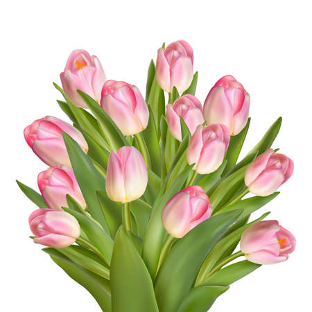 art border: Holiday background with bouquet of pink tulips. EPS 10 vector file included