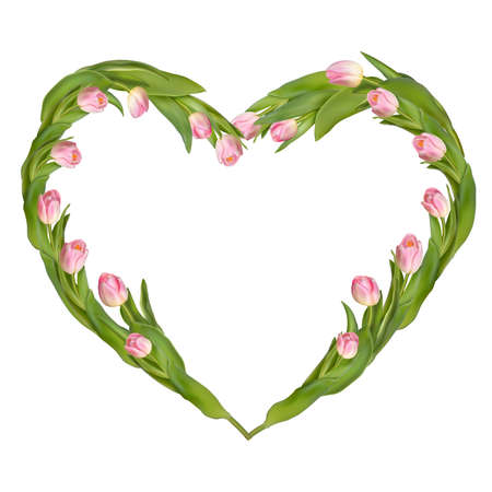 s day: Idea for Valentine s day. Heart from tulips on a white background. Illustration