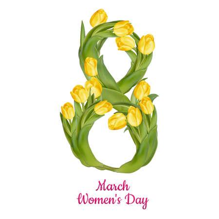 8 maart Vrouwendag wenskaartsjabloon. EPS-10 vector-bestand opgenomen