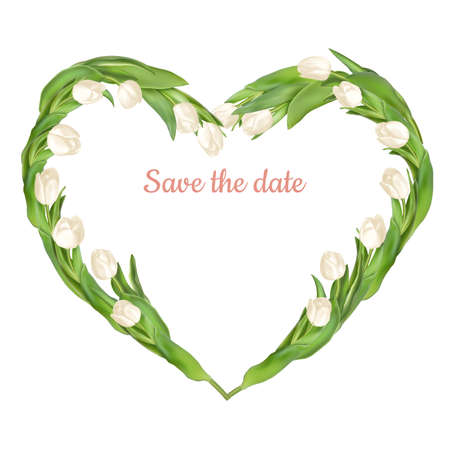 bouquet de fleurs: cadre en forme de coeur de tulipes fraîches. fichier 10 vecteur EPS inclus