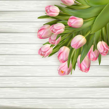 eps vector art: Art abstract background with spring tulips on wooden for design. EPS 10 vector file included