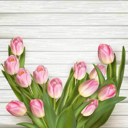 tulipanes frescas flores de color rosa sobre fondo de madera gris. archivo vectorial incluido