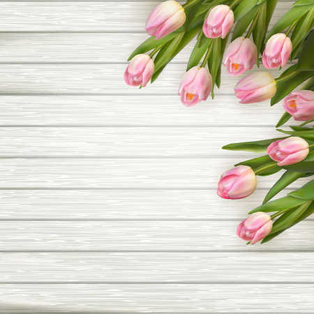 Pink tulips over white wood table. EPS 10 vector file included