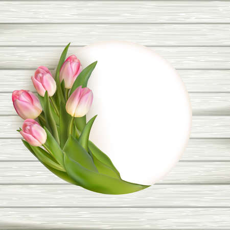 purple flowers: Pink tulips over white wood. vector file included Illustration