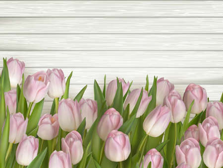 close: Beautiful bouquet of purple tulips on wooden background.  vector file included Illustration