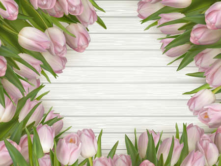 Pink tulips on a wooden background with space for text. vector file included