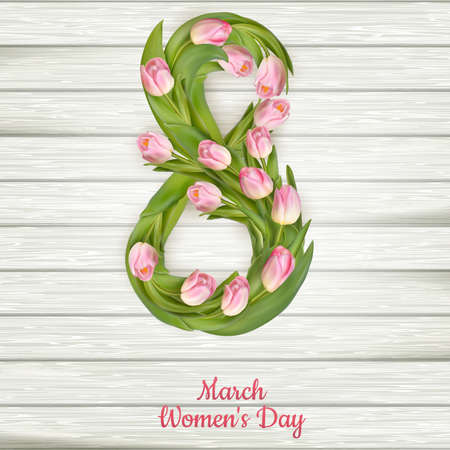 womans: Tulips with 8 march International womans day on wooden background.  vector file included